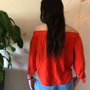 Old Navy Tops - Off the shoulder BRIGHT orange shirt